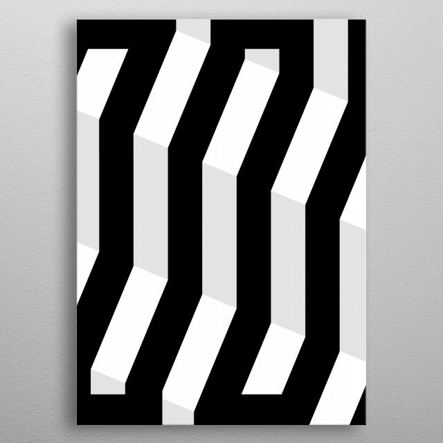 Black and white zigzags  metal poster