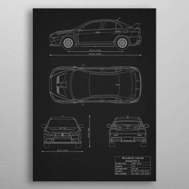 Mitsubishi Lancer Evo X metal poster