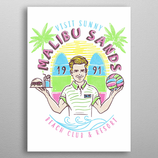 Sunny Malibu Sands Resort metal poster