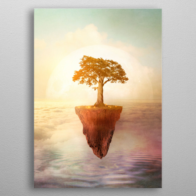 Floating tree metal poster