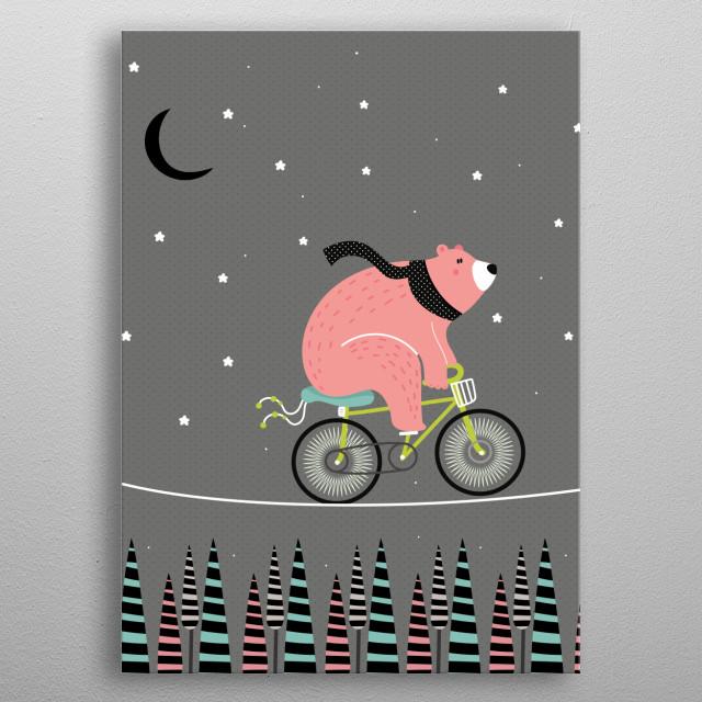 Night ride metal poster