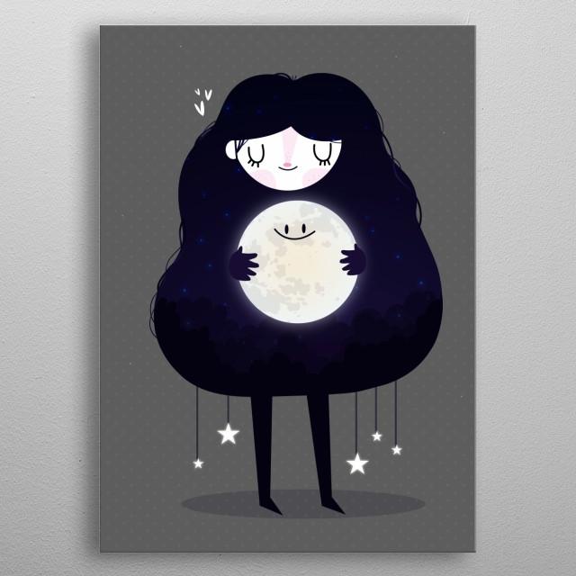 Hug the moon metal poster