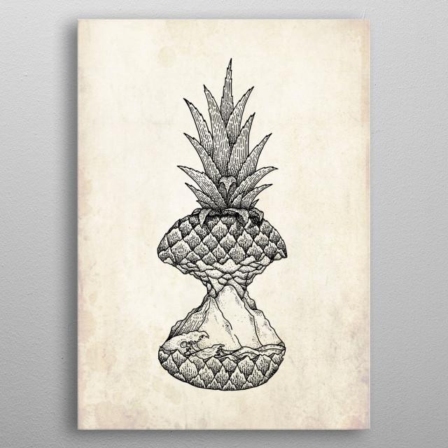 Pineapple Island metal poster