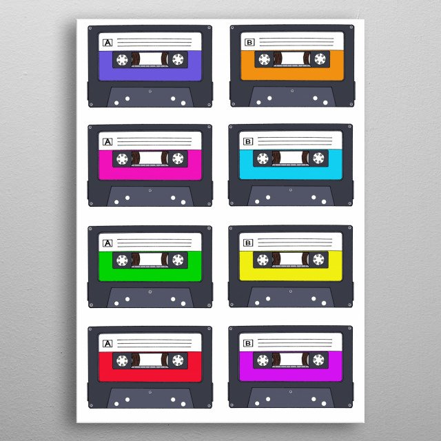 Retro Cassette Tapes metal poster