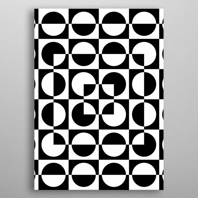 Black and White Circles and Squares  metal poster