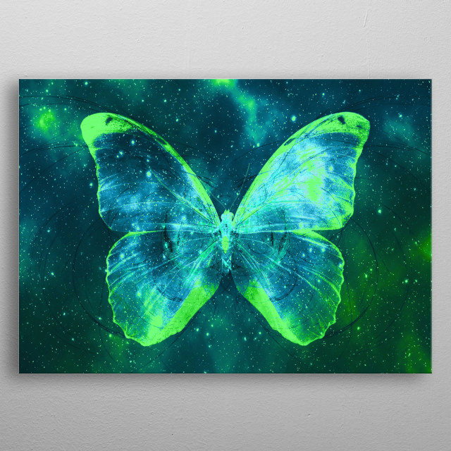 High-quality metal print from amazing Space Butterflies collection will bring unique style to your space and will show off your personality. metal poster