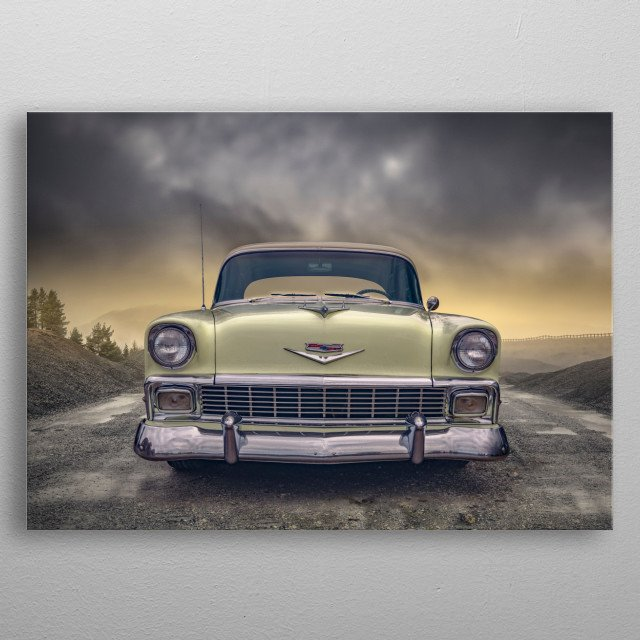 Edit of a lovely old classic car. metal poster