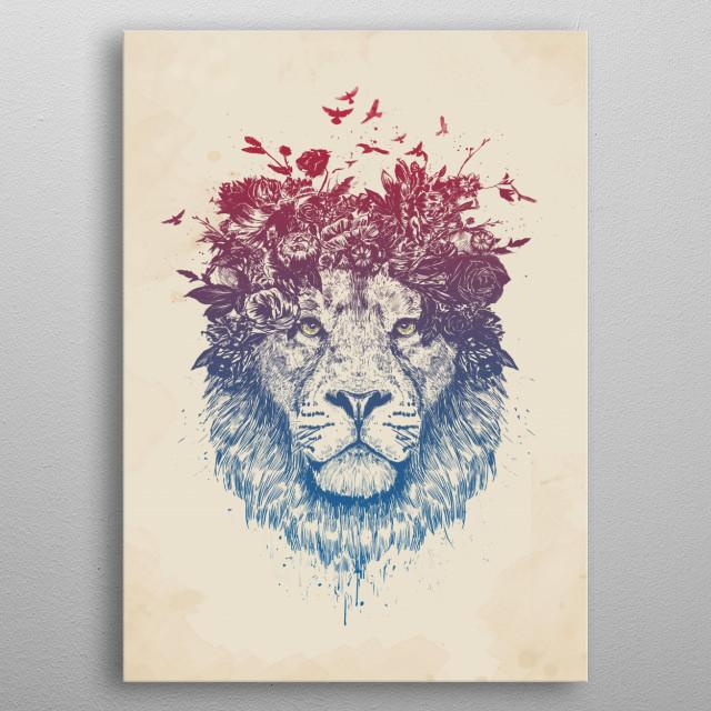 Floral lion III metal poster