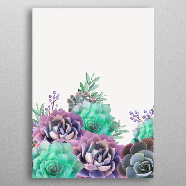 Succulents in purple and green metal poster