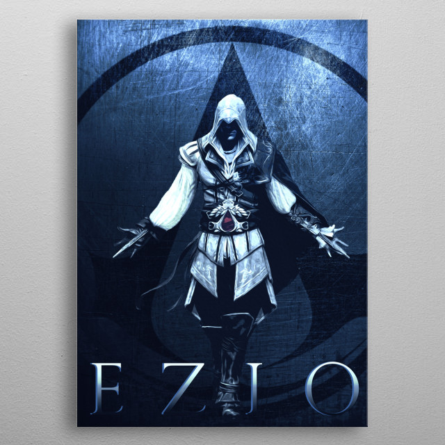 Ezio Poster II inspired by famous video game metal poster