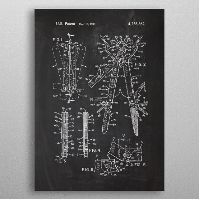 1980 Multitool - Patent Drawing metal poster