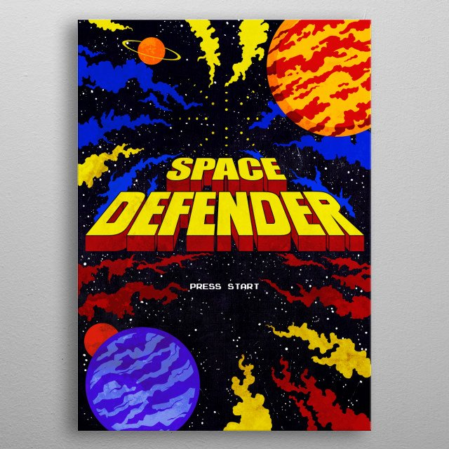 Space Defender metal poster
