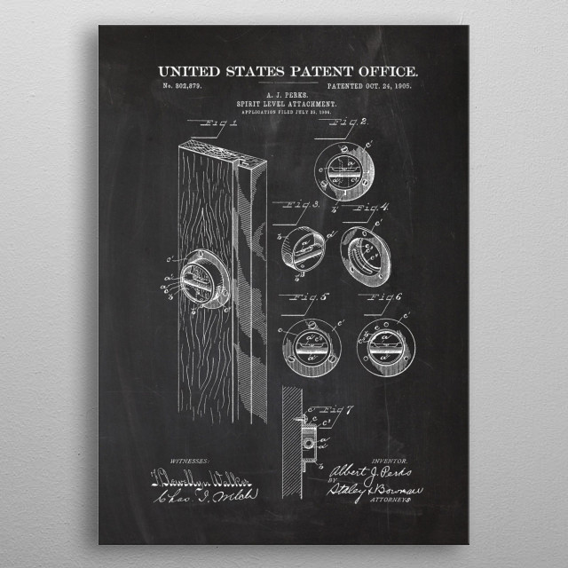 1904 Spirit Level Attachment - Patent Drawing metal poster