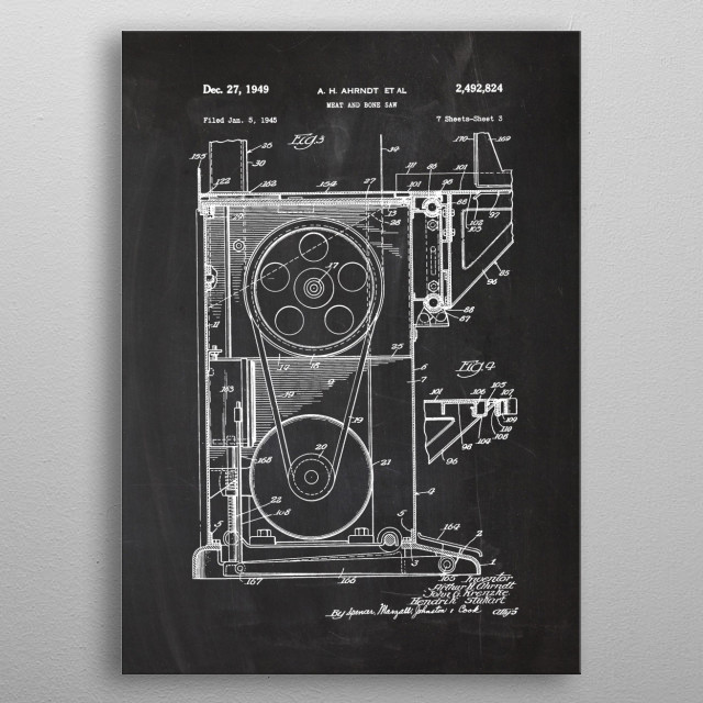 1945 Meat and bone saw - Patent Drawing  metal poster