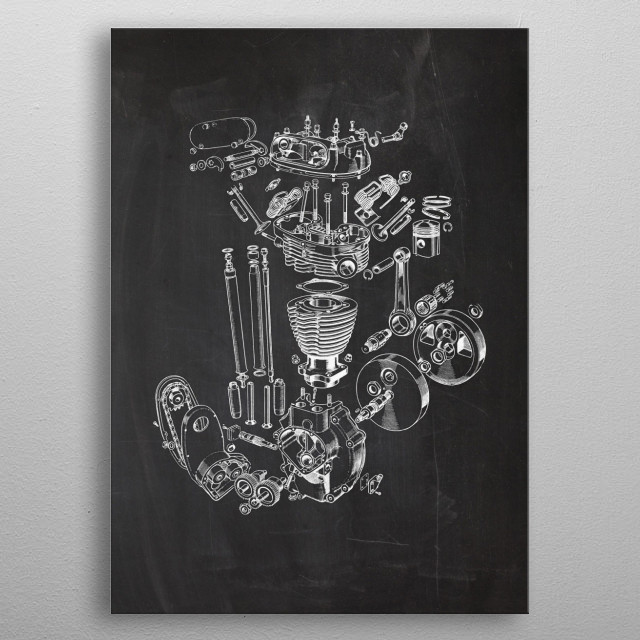 1950's Single Engine - Patent Drawing metal poster