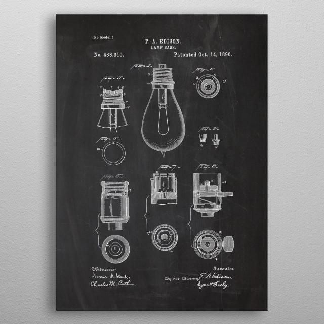 1890 Lamp Base - Patent Drawing metal poster