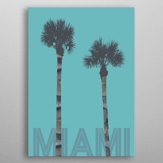 Modern and decorative graphic art. Get some holiday feeling with these lovely palm trees. metal poster