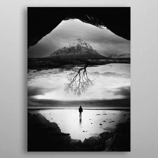 Landscape image of a man watching a Tree of life. metal poster