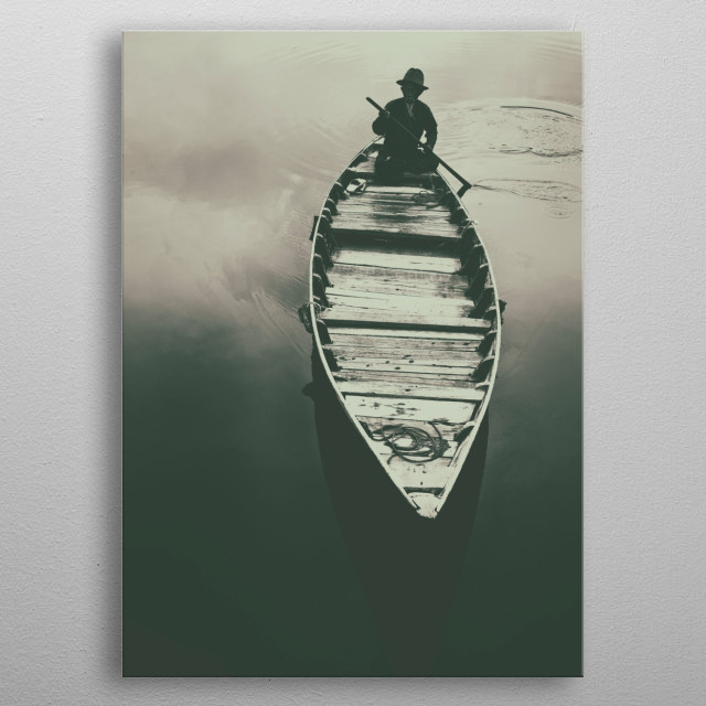 Black and white photograph of old fisherman boat metal poster