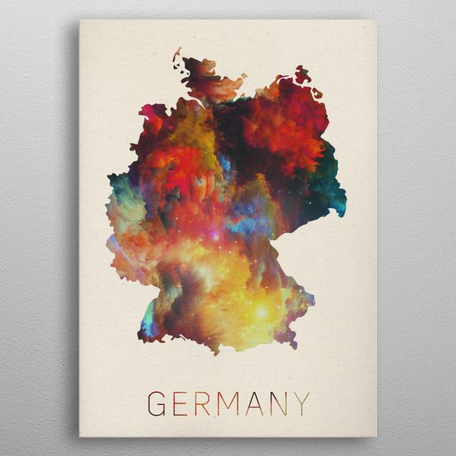 Germany Watercolor Map metal poster
