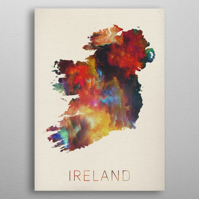 High Quality Map Of Ireland.Ireland Watercolor Map Maps Poster Print Metal Posters