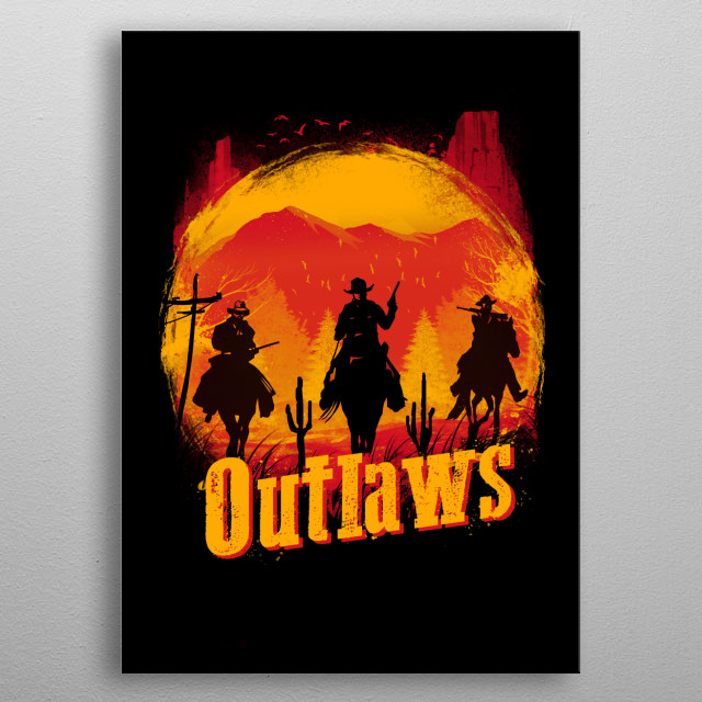 Sunset Outlaws metal poster
