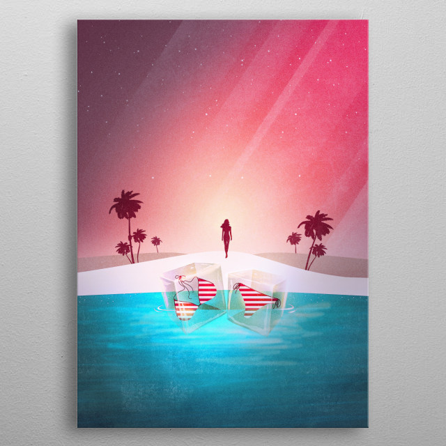 Is it a silhouette of a mermaid? Enjoy a tropical island surrounded by beautiful palms, a sandy beach and a turquoise sea. There are ice cubes swimming in the water with a bikini inside :) Relax, rewind and enjoy a summer sunset. metal poster