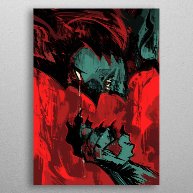 a demon with a human heart  metal poster