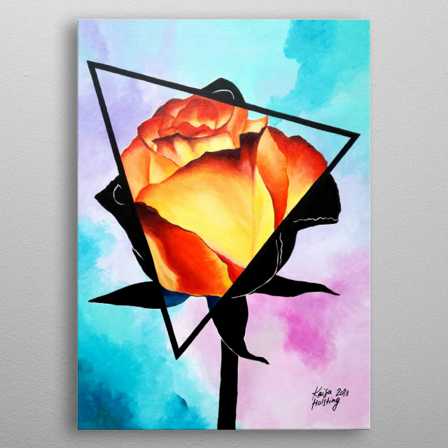 Fire Rose metal poster