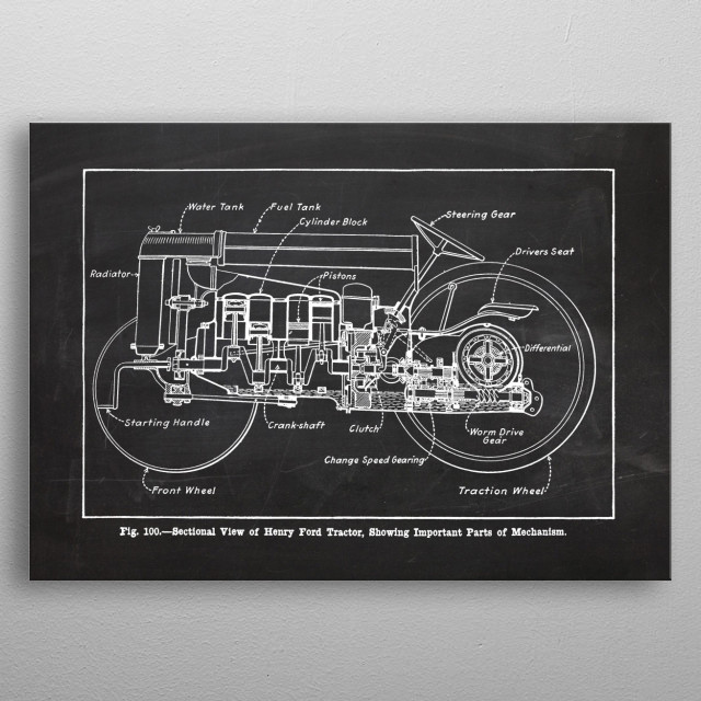 Ford Tractor - Patetent Drawing metal poster