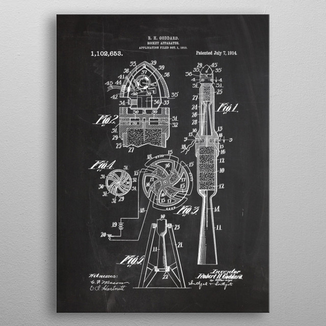 1913 Rocket Apparatus - Patent Drawing metal poster