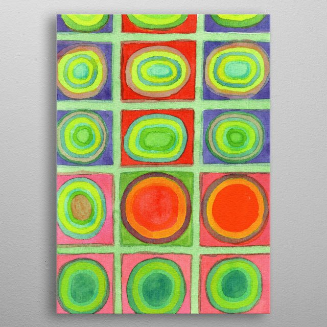Green Grid filled with Circles and intense Colors  metal poster