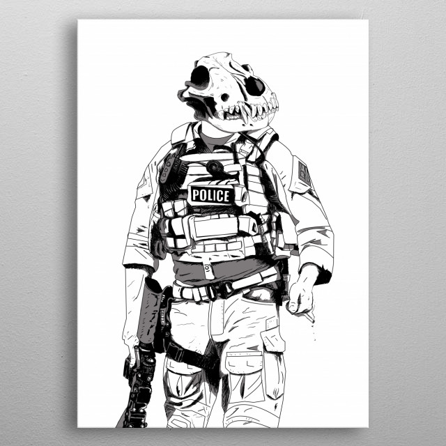K9 (Black and White) metal poster