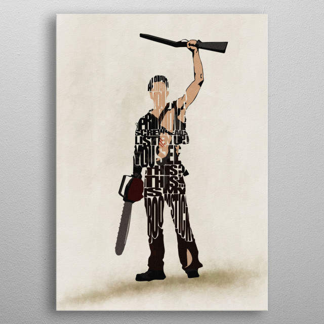Ash Williams Typographic & Minimalist Illustration metal poster