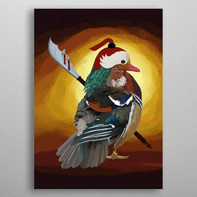 Warrior Duck metal poster