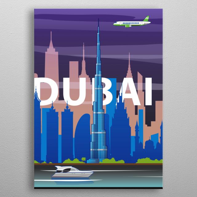 Dubai #3 metal poster