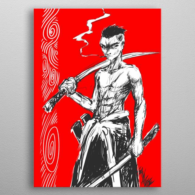 Smoking Samurai metal poster