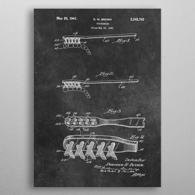 1939 Brown Toothbrush patent metal poster