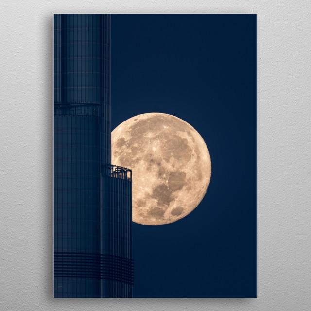 Super-moon Burj khlifa  metal poster