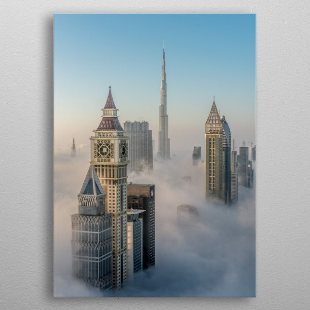 Dubai Above the clouds  metal poster