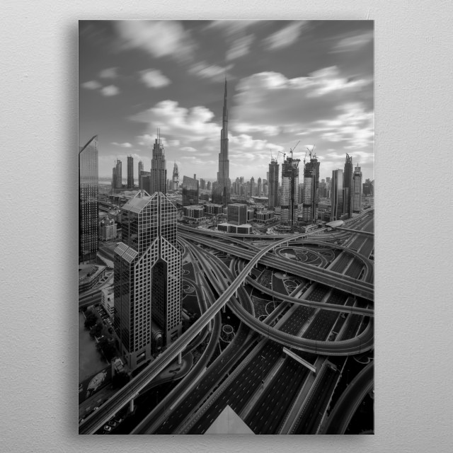 Empty Dubai Roads metal poster