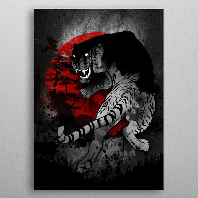 Traditional Tiger  metal poster