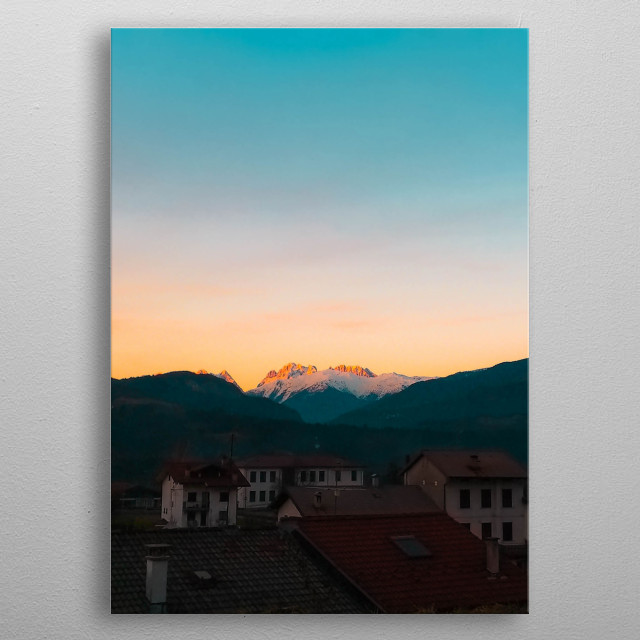 Sunset on the dolomites metal poster