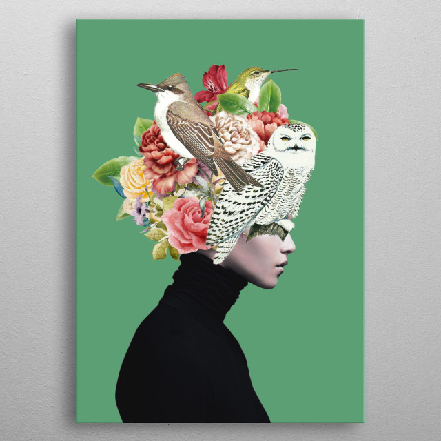 Lady with Birds(portrait) 2 metal poster