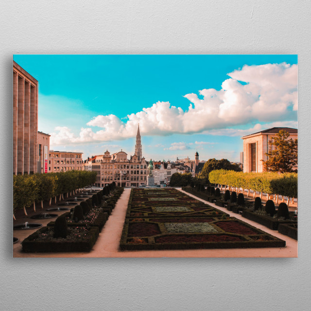 Panoramic view of the city of Brussels metal poster