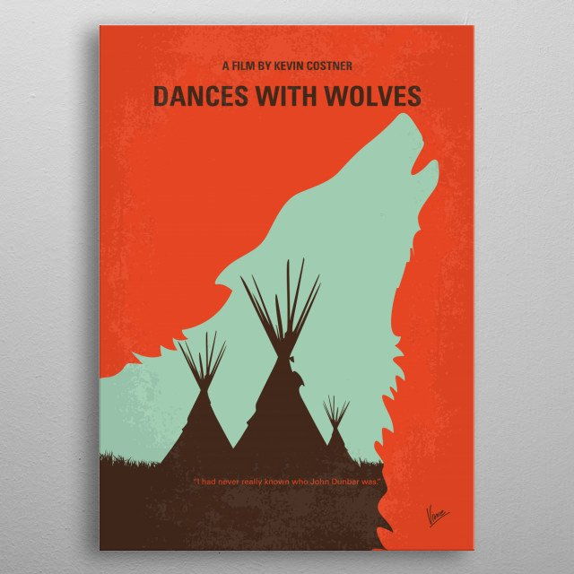 No949 My Dances with Wolves minimal movie poster metal poster