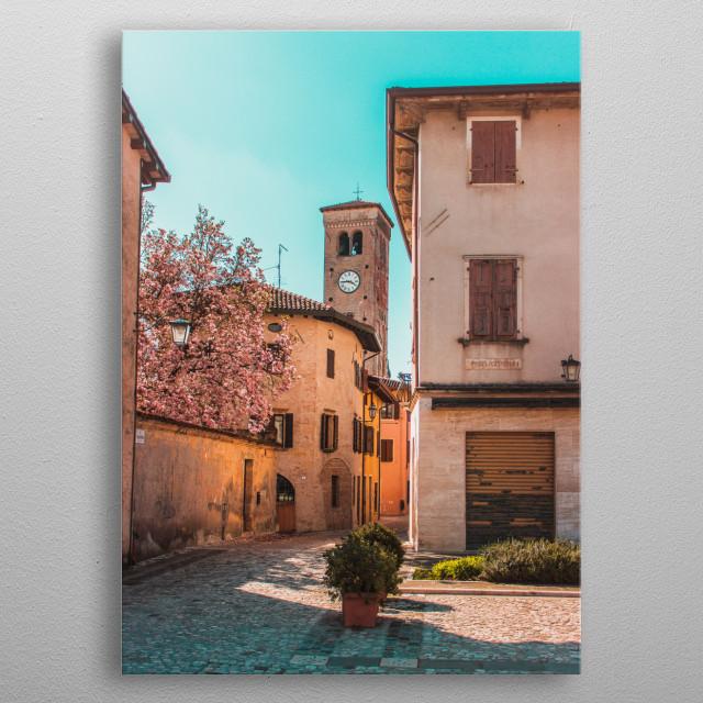 Calm italian street metal poster