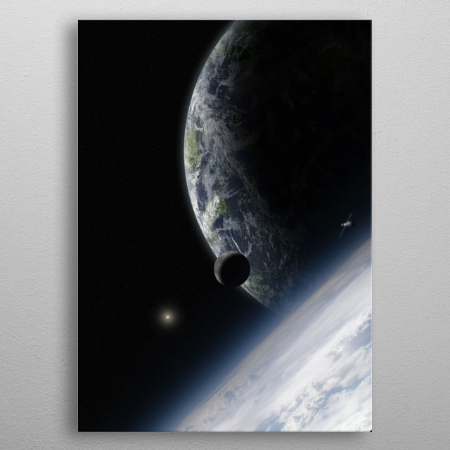Space from the high atmosphere of an alien planet metal poster