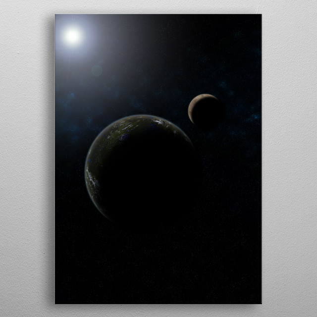 A Planet and its Moon metal poster