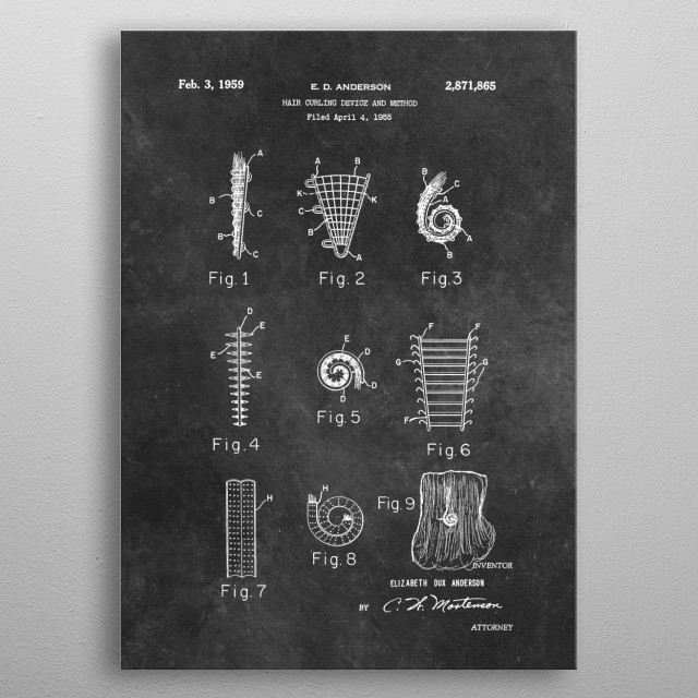 1959 Anderson Hair curling device and method metal poster